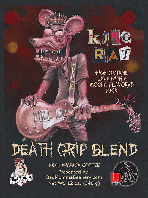 "WHOLESALE PURCHASE - 6 BAGS - King Rat ""Death Grip Blend"" Coffee (12 oz bags)"