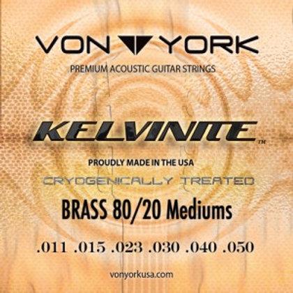 KELVINITE ACOUSTIC GUITAR BRASS STRINGS, 11-50 MED