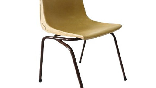 Beige Moulded Plastic Seat With Metal Legs