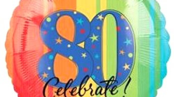80 Celebrate Balloon - Rainbow
