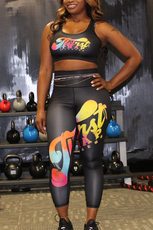 Thirst Trap Fitness Color Splash Logo Sports Bra and Leggings Set