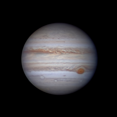 Jupiter and its Great Red Spot with two filaments