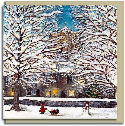 Eco Christmas card: Red Hood ~ At Hexham Abbey