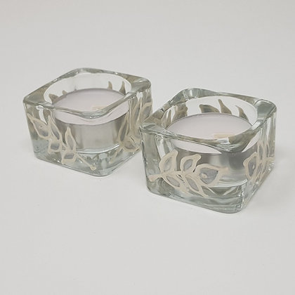 Square tealight holder: Silver Leaves