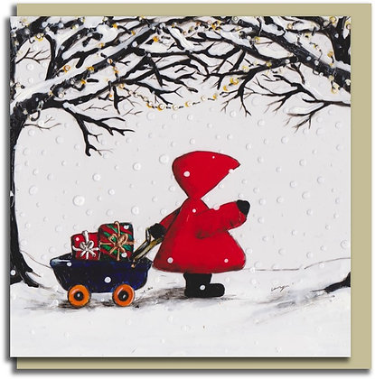 Eco Christmas card: Red Hood ~ Little Wagon