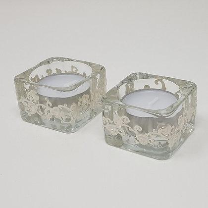 Square tealight holder: White Swirl