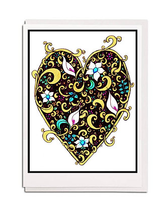 Greetings card: Hearts & Flowers