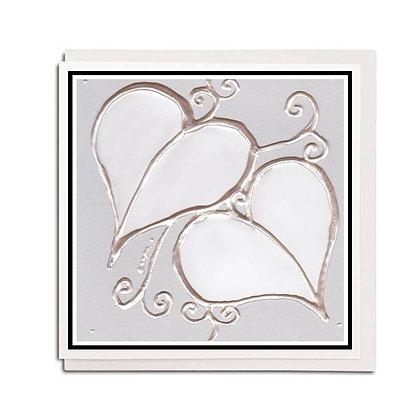 Greetings card: Glass design ~ White Leaf
