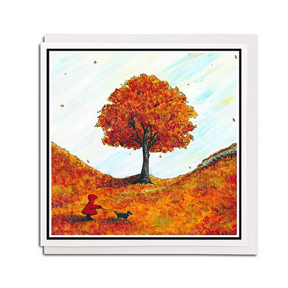 Greetings card: Red Hood ~ A Walk in Autumn