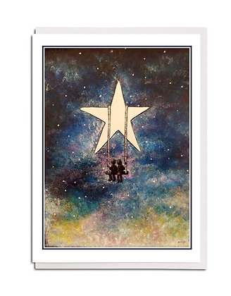 Greetings card: Swinging on a star