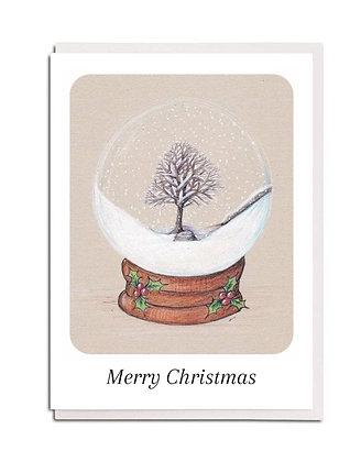 Christmas card: Snowglobe ~ Sycamore Gap