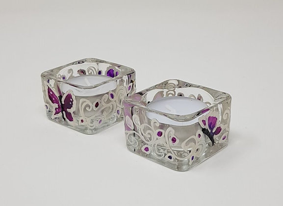 Square tealight holder: Butterfly