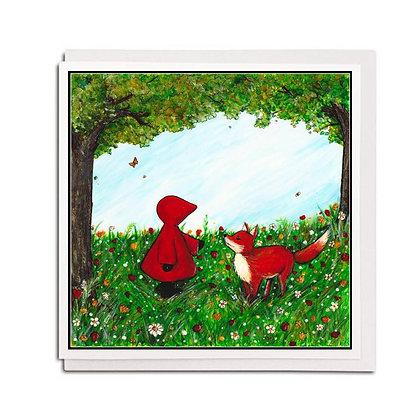 Greetings card: Red Hood ~ Hello, Mr Fox