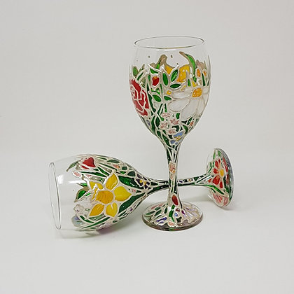 Wine glasses: Floral