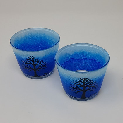 Round tealight holder: Blue Tree