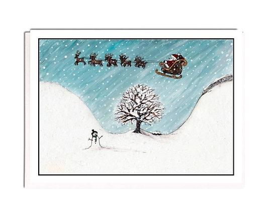 Christmas card: Santa at Sycamore Gap