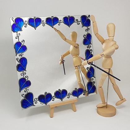 Square mirror: Blue Leaf
