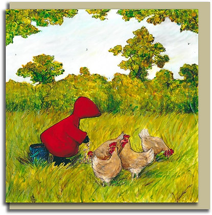 Eco Greetings card: Red Hood ~ Chick, Chick, Chicken