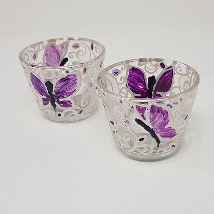 Round tealight holder: Butterfly