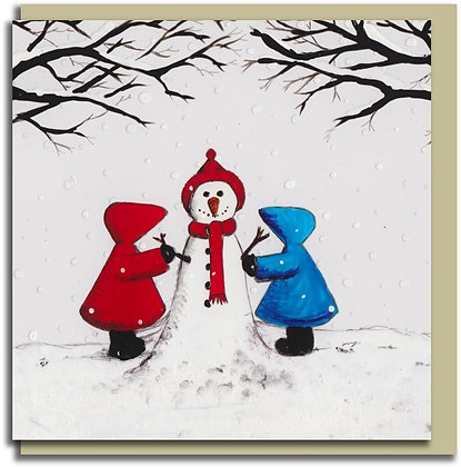 Eco Christmas card: Red Hood ~ Snow Friends