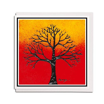 Greetings card: Glass design ~ Orange Tree