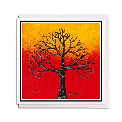 Greetings card: Glass design ~ Orange Tree