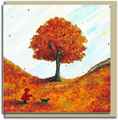 Eco Greetings card: Red Hood ~ A Walk in Autumn