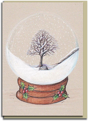 Eco Christmas card: Snowglobe ~ Sycamore Gap
