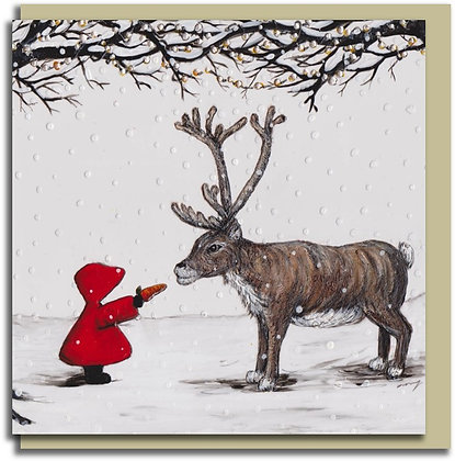 Eco Christmas card: Red Hood ~ Little Reindeer