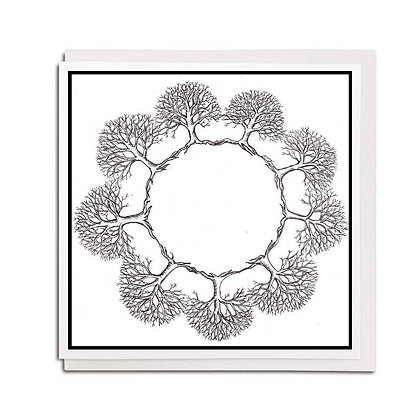 Greetings card: B&W Tree circle