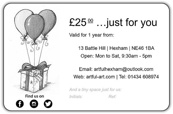 Artful gift voucher ~ £25