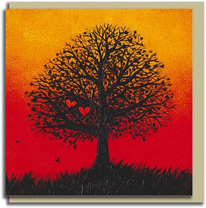 Eco Greetings card: Two Hearts Tree