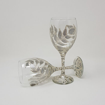 Wine glasses: Silver Leaves
