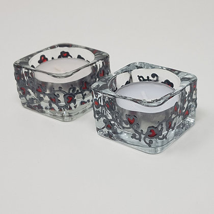 Square tealight holder: Red Swirl