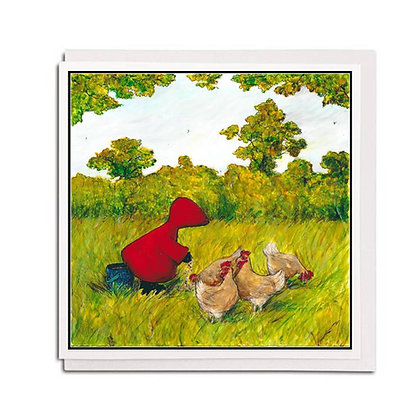 Greetings card: Red Hood ~ Chick, chick, chicken