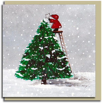 Eco Christmas card: Red Hood ~ Top of the Tree