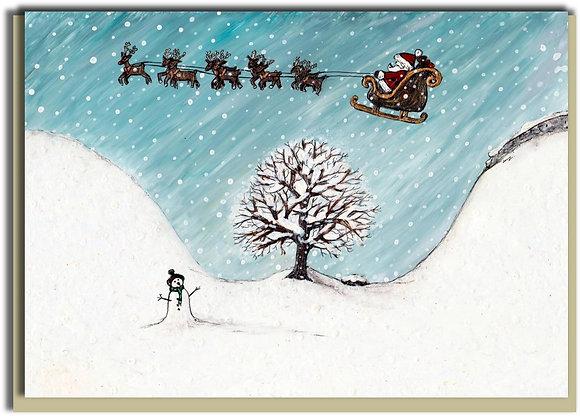 Eco Christmas card: Santa at Sycamore Gap
