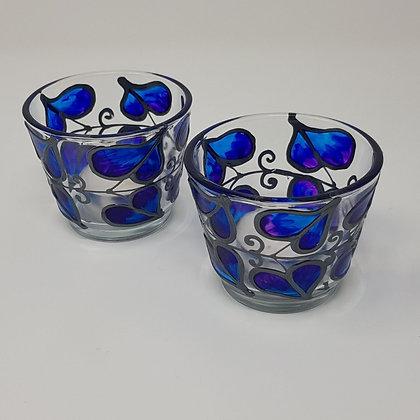 Round tealight holder: Blue Leaf