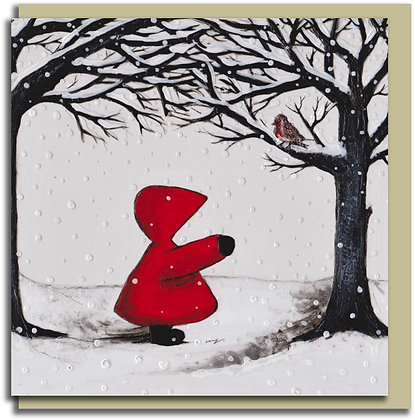 Eco Christmas card: Red Hood ~ Little Robin