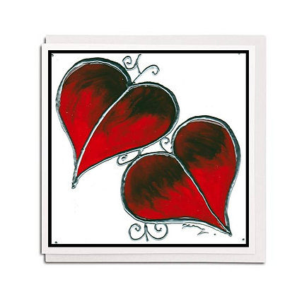 Greetings card: Glass design ~ Red Leaf