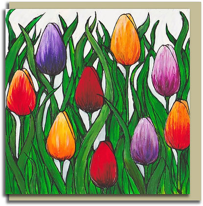 Eco Greetings card: Tulip Field