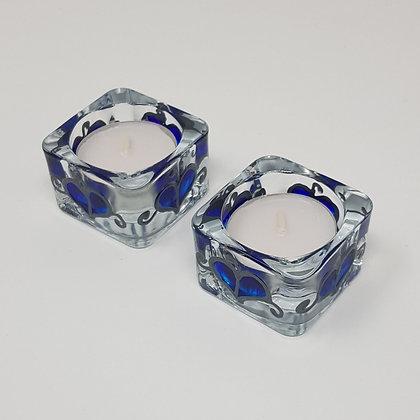 Square tealight holder: Blue Leaf