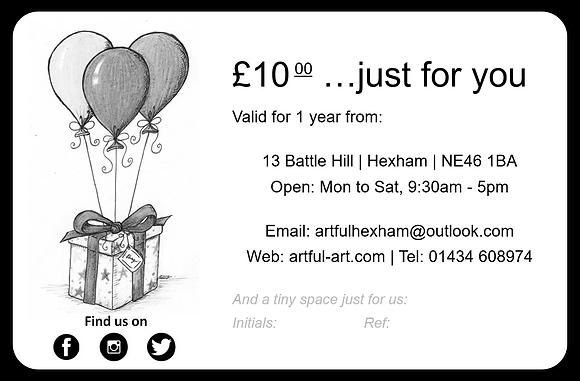 Artful gift voucher ~ £10