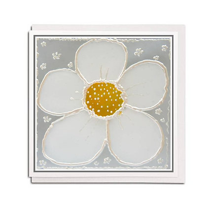 Greetings card: Glass design ~ Daisy