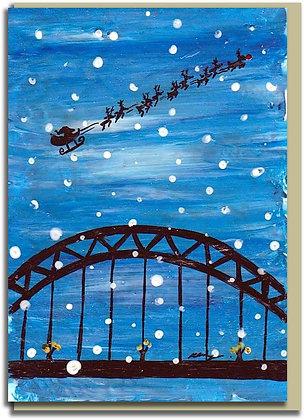 Eco Christmas card: Santa at the Tyne Bridge