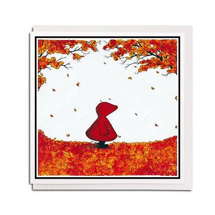 Greetings card: Red Hood ~ Autumn Leaves