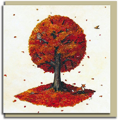 Eco Greetings card: Tree for all Seasons ~ Autumn