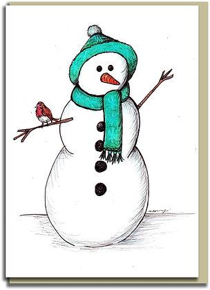 Eco Christmas card: Traditional Snowman