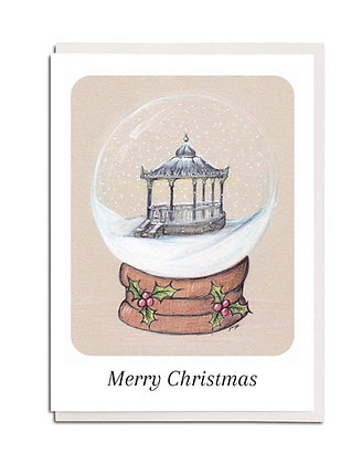 Christmas card: Snowglobe ~ Hexham Bandstand