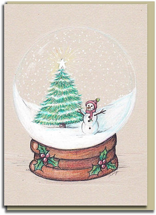Eco Christmas card: Snowglobe ~ Christmas Time